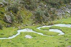山绿色山谷和河 免版税库存照片
