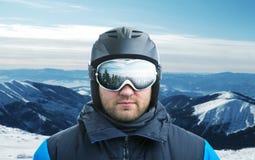 山滑雪者特写镜头 库存照片