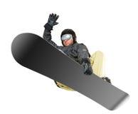 山滑雪者跳 免版税库存照片