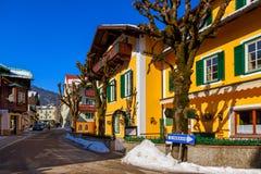 山滑雪胜地圣Gilgen奥地利 免版税库存图片