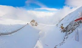 山滑雪胜地Kaprun奥地利 免版税库存照片