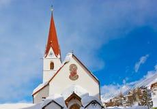 山滑雪胜地Obergurgl奥地利 免版税库存图片