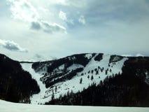 山滑雪足迹在一个清楚的冬日 库存图片