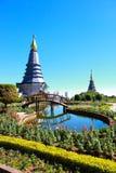 山Inthanon,清迈,泰国峰顶的塔  库存照片