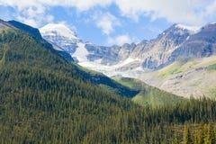 山maligne湖冰川视图班夫国家公园西部加拿大不列颠哥伦比亚省 免版税库存图片
