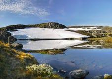 山Meadow湖风景风景 免版税库存照片