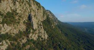 山Nanos空中英尺长度在用森林盖的维帕瓦河谷上的 股票视频