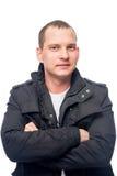 30岁一件黑夹克的人 免版税库存照片