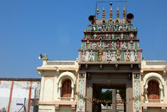 200岁印度神balaji venkateswar寺庙Gopuram,入口建筑细节  免版税库存图片