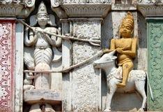 200岁印度神balaji venkateswar寺庙Gopuram,入口建筑细节  免版税库存照片
