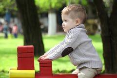 2岁操场的男婴 免版税图库摄影