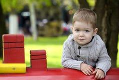2岁操场的男婴 免版税库存照片