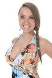 19岁有一件礼服的少妇在前面 免版税库存照片