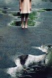20岁的一个美丽的女孩的画象在一个夏天d 免版税库存照片