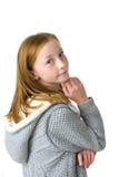 11岁的可爱的女孩演播室画象  免版税图库摄影