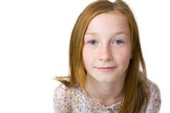 11岁的可爱的女孩演播室画象  免版税库存图片