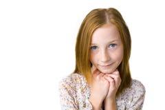 11岁的可爱的女孩演播室画象  库存照片