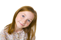11岁的可爱的女孩演播室画象  免版税库存照片