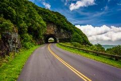 崎岖的石峰隧道,在北部Caro的蓝色里奇公园 免版税库存图片