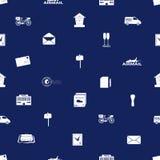 岗位和邮件无缝的蓝色和白色样式 免版税库存照片