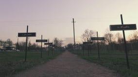 岗位线有vilage名字的沿路,在切尔诺贝利中,Pripyat,乌克兰 股票录像