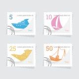 岗位邮票的套与船的 免版税库存照片