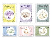 岗位邮票被设置与纸裁减艺术的秋天果子 库存图片