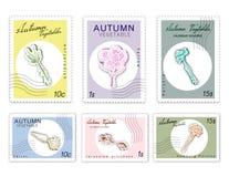 岗位邮票被设置与纸裁减艺术的秋天菜 免版税库存照片