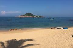 岘港,越南美丽的海  免版税库存照片