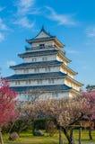 岛原市城堡在有李子开花的春天 免版税图库摄影