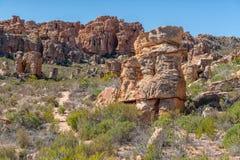 岩层和供徒步旅行的小道在Truitjieskraal在塞德伯格山 免版税图库摄影