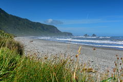 岩层和风景风景在Motukiekie在新西兰靠岸 免版税库存照片