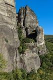 岩层惊人的风景在迈泰奥拉,希腊附近的 库存照片