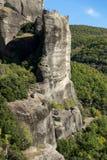 岩层惊人的风景在迈泰奥拉,希腊附近的 免版税库存图片
