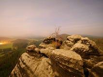 岩石与树 在一座美丽的山的满月夜 从雾和小山增加的砂岩峰顶 免版税库存图片