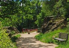 岩石之间的道路 免版税库存照片
