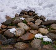 岩石冬天 库存照片