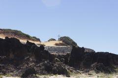 黑岩石和五颜六色的峭壁在负子蟾 免版税库存照片