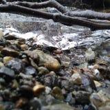 岩石和冰在The Creek 图库摄影