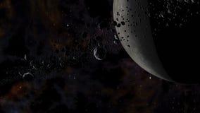 岩石和循轨道运行在死的行星附近的冰微粒 库存例证