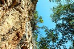 岩石和橄榄树反对天空 库存图片
