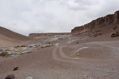 岩石和沙子沙漠,智利 免版税图库摄影
