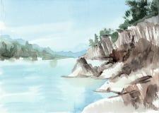 岩石和湖 向量例证