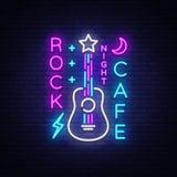岩石咖啡馆商标氖传染媒介 晃动咖啡馆霓虹灯广告,与吉他的概念,明亮的夜广告,轻的横幅,实况音乐 向量例证