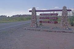 岩石国家公园入口标志城市 库存图片