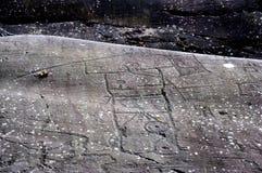 岩石图画在Valcamonica 17 库存图片
