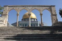 岩石圆顶细节在圣殿山在耶路撒冷 免版税库存照片