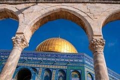 岩石圣殿山耶路撒冷以色列的圆顶 免版税图库摄影