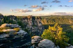 岩石在德国国家公园 撒克逊人的瑞士国家公园,萨克森 库存照片
