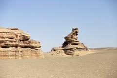 岩石在罗布泊 免版税库存照片